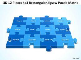 3D 12 Pieces 4x3 Rectangular Jigsaw Puzzle Matrix