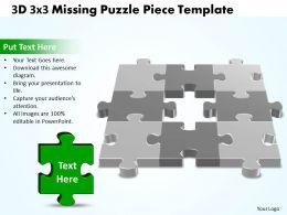 3D 3X3 Missing Puzzle Piece Template