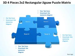 3D 4 Pieces 2x2 Rectangular Jigsaw Puzzle Matrix