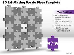3D 5X5 Missing Puzzle Piece Template