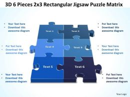 3D 6 Pieces 2x3 Rectangular Jigsaw Puzzle Matrix