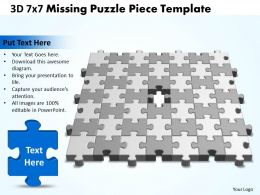 3D 7X7 Missing Puzzle Piece Template