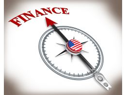 3D Arrow Of Compass Pointing On Finance Stock Photo