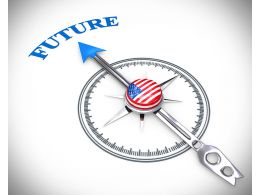 3D Arrow Of Compass Pointing On Future Stock Photo
