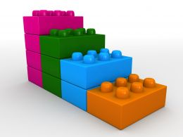 3D Bar Graph Of Four Colored Lego Blocks Stock Photo