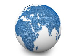 3D Binary Code Globe Stock Photo