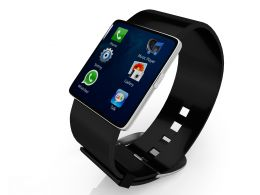3d Black Watch Displaying Icons Of Apps And Games Stock Photo