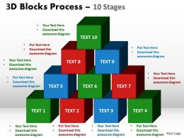 3d blocks process 10 stages powerpoint slides and ppt templates 0412