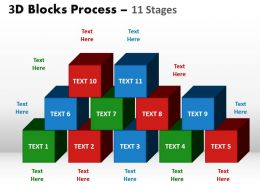 3d blocks process 11 stages powerpoint slides and ppt templates 0412