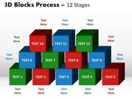3d blocks process 12 stages powerpoint slides and ppt templates 0412