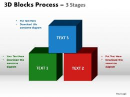 3d blocks process 3 stages powerpoint slides and ppt templates 0412