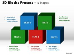 3d blocks process 5 stages powerpoint slides and ppt templates 0412