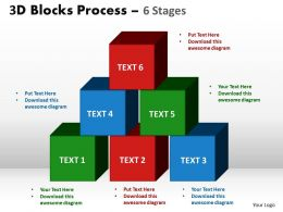 3d blocks process 6 stages powerpoint slides and ppt templates 0412