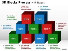 3d blocks process 9 stages powerpoint slides and ppt templates 0412