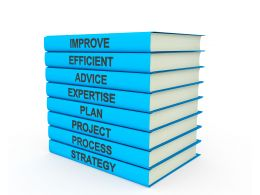 3d Blue Books Tower With Multiple Texts Stock Photo