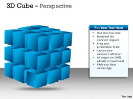 3D blue Cube Perspective PPT 1