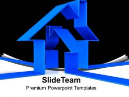 3d Blue House Illustration Real Estate PowerPoint Templates PPT Themes And Graphics 0113