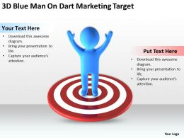 3D Blue Man on dart Marketing Target Ppt Graphic Icon