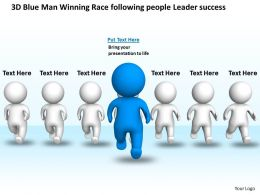 3D Blue Man Winning Race following people Leader success Ppt Graphic Icon