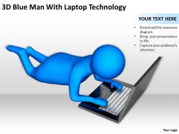 3D Blue Man With Laptop Technology Ppt Graphics Icons Powerpoint