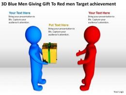 3D Blue Men Giving Gift To Red men Target achievement Ppt Graphic Icon