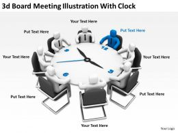 3d Board Meeting Illustration With Clock Ppt Graphics Icons