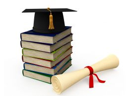 3D Books Graphic With Graduation Cap And Degree Stock Photo