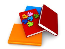 3D Books With Colorful Puzzle Stock Photo