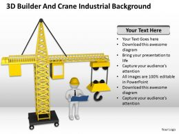 3D Builder And Crane Industrial Background Ppt Graphics Icons Powerpoint