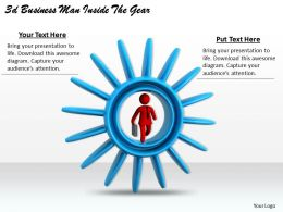 3d Business Man Inside The Gear Ppt Graphics Icons Powerpoint