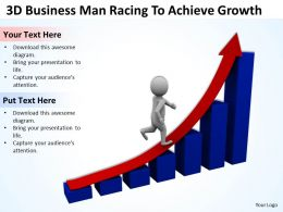 3D Business Man Racing To Achieve Growth Ppt Graphics Icons