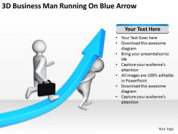 3d Business Man Running On Blue Arrow Ppt Graphics Icons