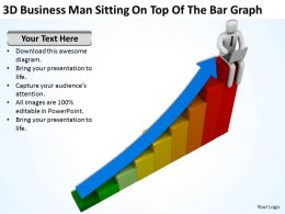 3D Business Man Sitting On Top Of The Bar Graph Ppt Graphics Icons