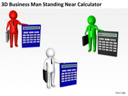 3D Business Man Standing Near Calculator Ppt Graphics Icons Powerpoint