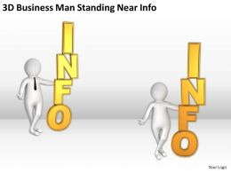 3D Business Man Standing Near Info Ppt Graphics Icons Powerpoint