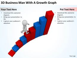 3D Business Man With A Growth Graph Ppt Graphics Icons