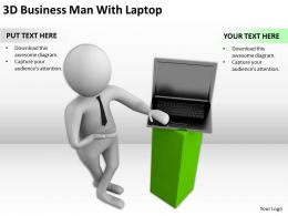 3D Business Man With Laptop Ppt Graphics Icons Powerpoint