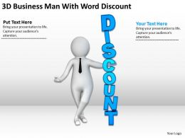 3D Business Man With Word Discount Ppt Graphics Icons Powerpoint
