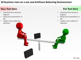 3d business men on a see saw briefcase Balancing businessman Ppt Graphic Icon