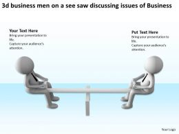 3d business men on a see saw discussing issues of Business Ppt Graphic Icon