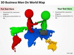 3D Business Men On World Map Ppt Graphics Icons Powerpoint