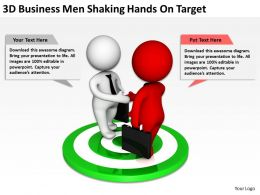 3d Business Men Shaking Hands On Target Ppt Graphics Icons