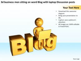 3d_business_men_sitting_on_word_blog_with_laptop_discussion_posts_ppt_graphic_icon_Slide01
