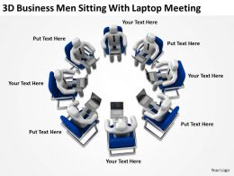 3D Business Men Sitting With Laptop Meeting Ppt Graphics Icons Powerpoint