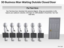 3D Business Men Waiting Outside Closed Door Ppt Graphics Icons