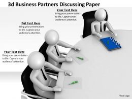 3d Business Partners Discussing Paper Ppt Graphics Icons Powerpoint