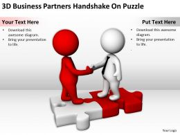 3D Business Partners Handshake On Puzzle Ppt Graphics Icons Powerpoint