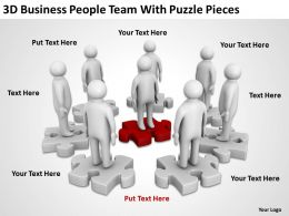 3D Business People Team With Puzzle Pieces Ppt Graphics Icons Powerpoint