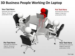 3D Business People Working On Laptop Ppt Graphics Icons Powerpoint