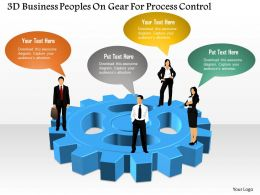 3d Business Peoples On Gear For Process Control Powerpoint Template